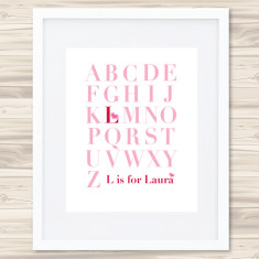Girls personalised A-Z prints