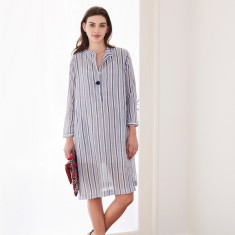 Shirt dress in woven navy stripe