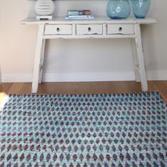 Sari silk blue rug