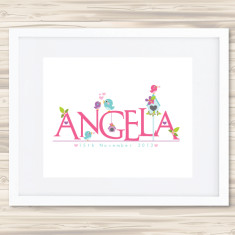Girls' personalised name prints (various designs)