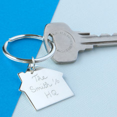 Personalised sterling silver house keyring