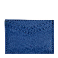 King card holder in light blue leather