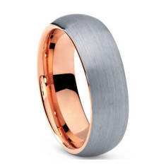 Custom Personalised Silver & Rose Gold Inlay Tungsten Ring