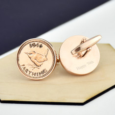 Farthing Rose Gold Coin Cufflinks 1920 To 1956