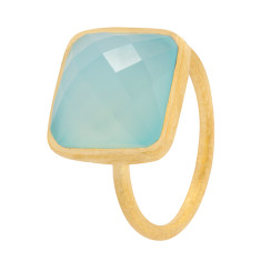 Square Cupcake Ring With Aqua Chalcedony