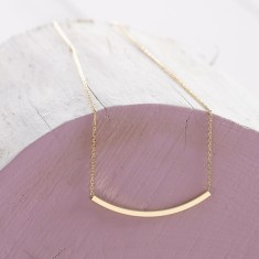 Gold sliding bar necklace