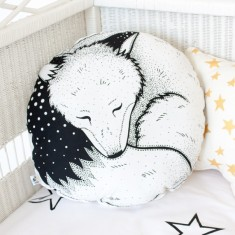 Hand Printed Sleepy Fox Round Cushion
