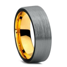 Personalised custom brushed silver & gold pipecut tungsten ring