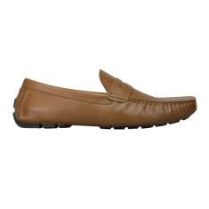 Loafers flap leather camel brown men's shoe
