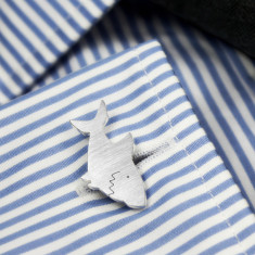 Sharks cufflinks handcrafted in 925 silver