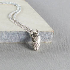 Tiny owl sterling silver necklace