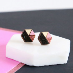 Hexagon geometric earrings in baby pink, bronze and black