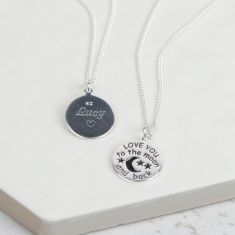 To the moon and back silver personalised necklace