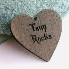 Personalised wooden love heart plectrum