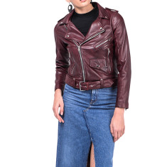 Oxblood WB2 red lambskin biker jacket