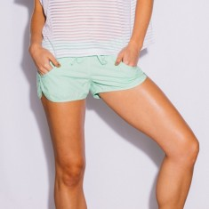 Womens' beach shorts in lime green