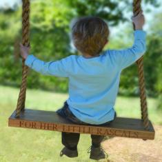 Personalised wooden garden swing