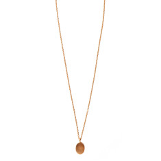 Gold Plated Oval Pendant Necklace