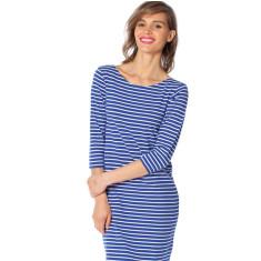 Royal blue stripe cotton jersey dress