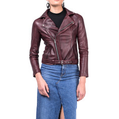 Oxblood red leather jacket