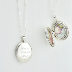 Personalised map location silver oval locket