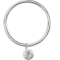 Sterling silver St Benedict bangle