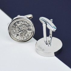 Threepence 80th birthday coin cufflinks