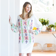 Inga embroidered cotton dress in multi
