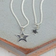 Mummy and me silver stars necklace