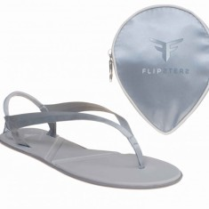 Flipsters foldable flip flop shoes in platinum