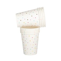 Tiny square pastel and gold confetti cups (2 packs x 10)