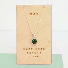 May birthstone sterling silver necklace