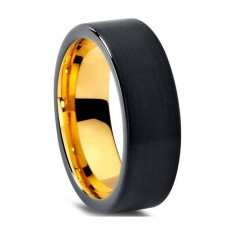 Personalised Custom Brushed Black and Gold Pipecut Tungsten Ring