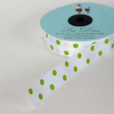 Christmas ribbon in lime polka dot on white