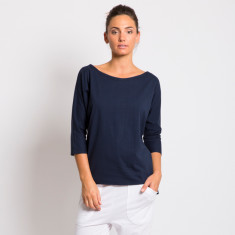 Organic cotton batwing top in navy