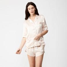 Personalised silk short pyjama set in champagne