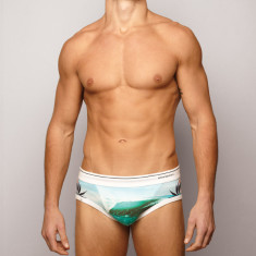 Men's briefs in hibiscus white or Black