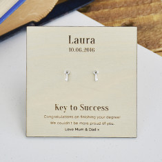Personalised 'Key To Success' Sterling Silver Earrings