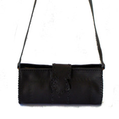 Gypsy leather clutch with strap in black