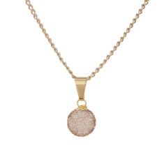 Mini Circle Drusy Pendant Necklace