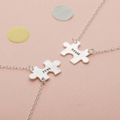 Personalised Jigsaw Friendship Necklace Set