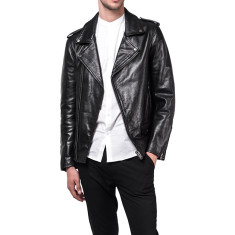 Black CS2 cowhide leather biker jacket