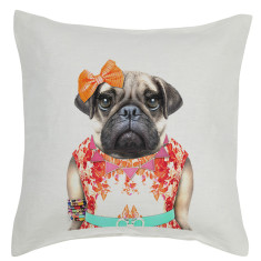 Miss Pug linen cushion cover