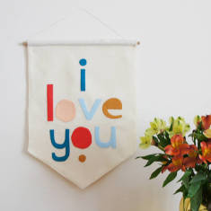 Love You Felt Wall Banner Flag