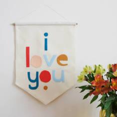 Love You Felt Wall Banner Flag
