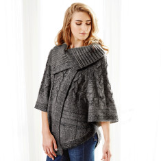 Delilah poncho in charcoal
