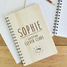Clever Clogs Personalised Wooden Notebook