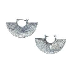 Silver solid tassel earring