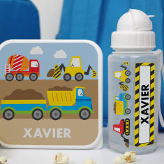 Personalised Construction Lunch Box and Drink Bottle
