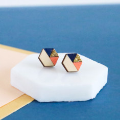 Hexagon geometric earrings - navy, gold leaf and peach